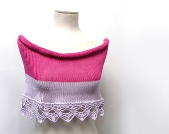 Color Block Cotton Capelet Shrug - Hand Knit with Crochet Lace Border - Hot Pink and Lilac Lavender - Cotton Mini Skirt - Beach Skirt