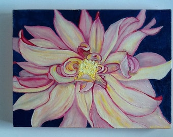 Creamy Pink Dahlia Original Oil Painting