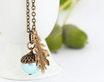 Acorn Pendant, Aqua Blue Pearl Acorn Necklace, Golden Brass Oak Leaf Charm on Brass Chain, Woodland Jewelry, Rustic Necklace, Oak Leaf Acorn