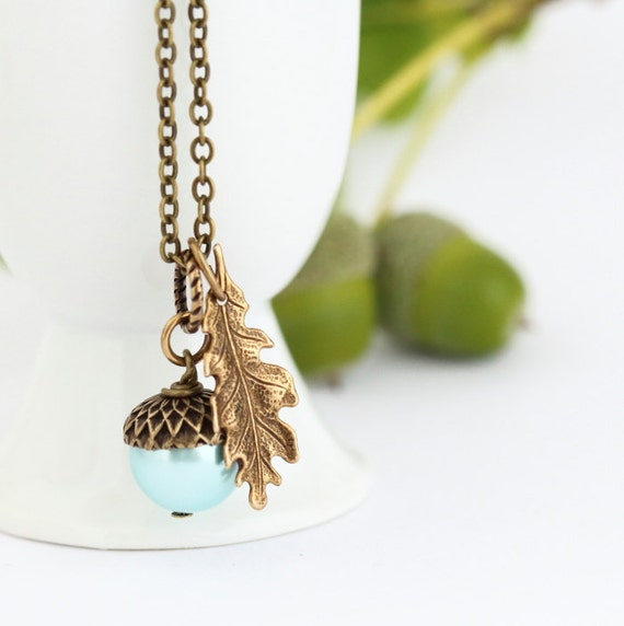 Aqua Blue Pearl Acorn Necklace With Antique Golden Brass Oak Leaf    Blue Oak Acorn