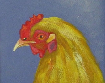Brightly colored chicken blank greeting card