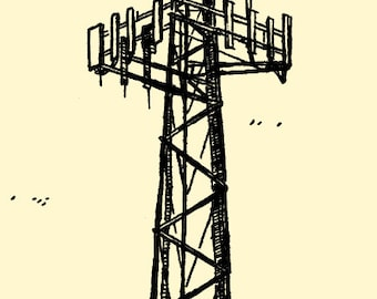 ugly cell tower, hand pulled screen print