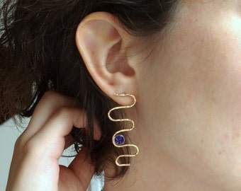 14k Gold Fill Squiggle Studs with Druzy Stones