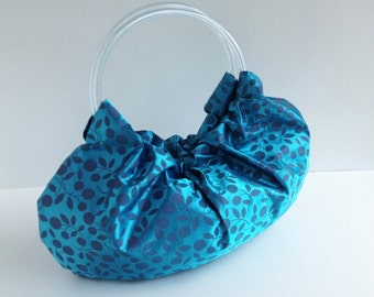 Water Vines Hobo Handbag - Handmade Turquoise Blue Purse with Clear Vinyl Tubing Handles