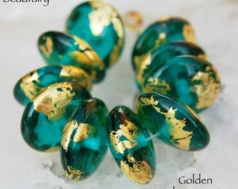 10 Golden Teal Green Discs Noble Handmade Lampwork Beads gold by Beadfairy Lampwork