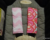 Cute Garden Maze and Baby Pink Chevron Car Seat Strap Covers