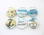 6 Nautical Fridge Magnets, Wine Charms, Pins Home & Living, Kitchen, Organization, beach, anchor, ahoy matey, blue, brown 1232