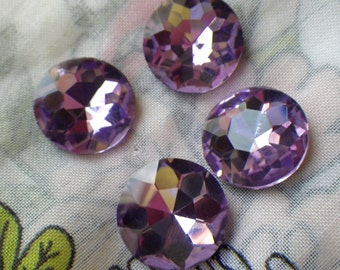 Lavender Purple 18mm Round Crystal Gems Foiled 4 Pcs