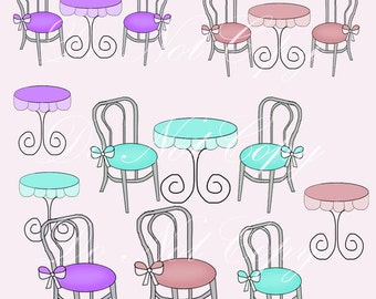 INSTANT DOWNLOAD Paris French Boutique Cafe Furniture Parisian Graphics Clip Art Fancy Chic Images Buy 1 Get 1 Free