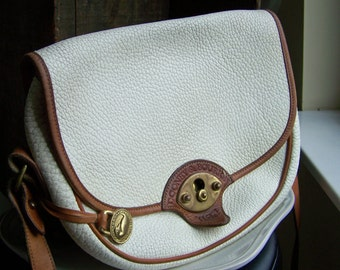 Vintage Dooney and Bourke, Dooney and Bourke, Vintage Leather Bag, White and Tan, Large Cavalry Dooney, Etsy, Etsy Vintage, Vintage Handbag