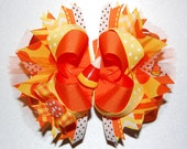 Candy Corn Bow - Halloween Bow - Candy Corn Headband Bow - Halloween Headband Bow