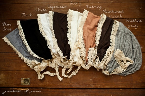 Victorian style snood covering in any color-- Garlands of Grace classic stretch headcovering