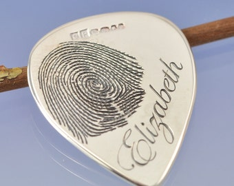 Fingerprint Plectrum. Custom sterling silver guitar pick.