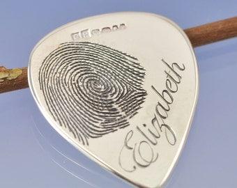 Fingerprint Plectrum. Custom sterling silver guitar pick.