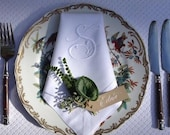 Personalized Napkins - 12 Monogrammed linen hemstitched dinner napkins 20x20in.  Monogrammed Napkins
