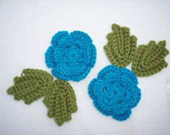 wool crochet roses with leaves to applique or felt  --  1278