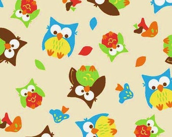 "Bright Owl Allover Flannel 42/43"" Wide 100% Cotton"