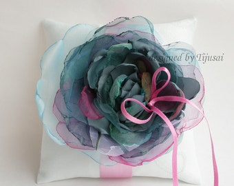 Mint blue Wedding pillow with colorful organza  flower---wedding rings pillow, wedding pillow