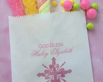 Baptism Favor bags, Cross candy bags, First Communion, Candy Buffet, Birthday party, Sweets, Treats
