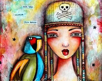 Pirate Art Print, Bird Parrot Whimsical Art, Nautical Art, Inspirational, Beach, 8 x 10 or 5 x 6.5, Mixed Media, Red Blue Multicolor