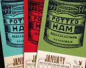 1 calendar POTTED HAM canned meat Mini 2017 Hand Printed Letterpress