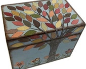 Recipe Box, Decoupaged LARGE Handcrafted, Kitchen Storage, Organization Box, Holds 5 x 7 Cards, Tree Box, MADE To ORDER