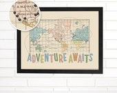 Vintage Map Wall Art, Adventure Awaits, Pushpin Travel Map