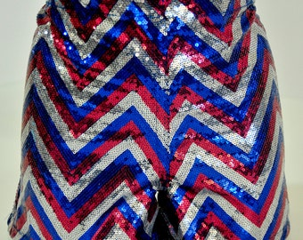 Sequin Shorts in size ladies med..red/silver/royal sewn on sequins ..stretch..club wear, pageant, costume