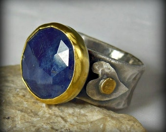 Sapphire  ring , solitaire ring,  silver and 22 kt karat gold statement ring,  rustic style heart and stone ring