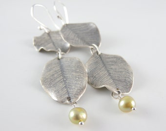 Real Silver Carob Leaves Earrings with a Real Pearl in Green Tea Color and Free USA Shipping