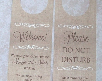 Hotel Door Hangers - RUSTIC BURLAP - Double Sided for Out of Town Wedding Guests - Do Not Disturb