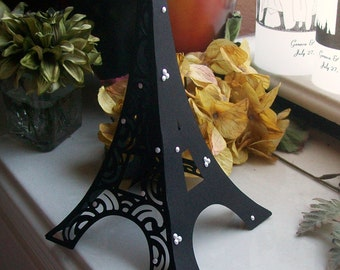 3D Eiffel Tower Table Centerpiece - Cake Topper - Black on Black with Pearl Accents - Shower - Birthday - FULLY ASSEMBLED