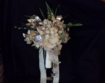 Sea Shells Beach Themed Wedding  Bouquet Seaside Crystal Brooch Bouquet
