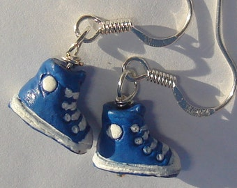 petite ceramic blue high tops from Peru pierced dangle hand made wire wrapped earrings