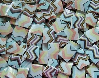 Mosaic Tiles--Light Blue Chevron 100 Tiles-Sale