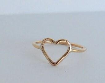 Golden Heart Ring, 14kt Gold filled open heart ring