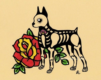 Day of the Dead Dog MINIATURE PINSCHER Dia de los Muertos Art Print 5 x 7, 8 x 10 or 11 x 14 - Choose your own words - Shelter Donation