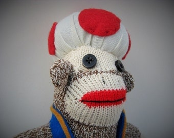 Mario Brothers Toad sock monkey MADE TO ORDER