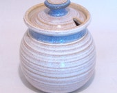 Honey Pot and Sugar jar In Soft White and Blue 2 cup pottery lidded jar