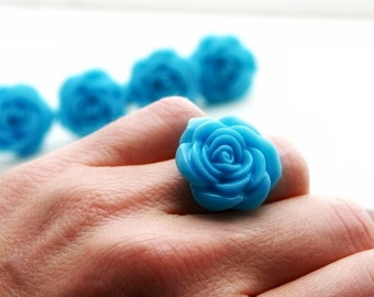 Large blue flower ring - Adjustable ring Flower jewelry
