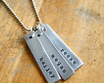 Rectangle bar name necklace. Hand stamped name jewelry.