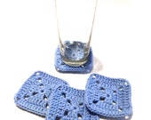 Light Blue Granny Square Crocheted Coasters-Set Of Four