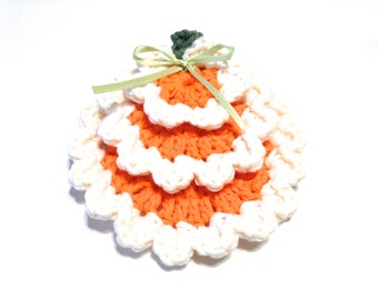 Hot Orange And Soft Ecru Crocheted Face Scrubbies And Make-Up Remover Set