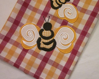 Vintage Tea Towel/ Dish Towel - Burgundy and Gold Bumblebees - Bumble Bee Summer Decor