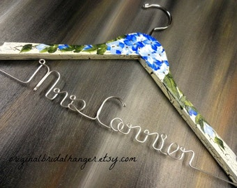 Bride Hanger Painted - Blue Hydrangeas - Personalized Dress Hanger - Custom Hanger - Painted Hangers - Boho Wedding - Shabby Hanger - Gifts
