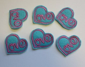 Love Heart Style 3 Lt Turquoise with Hot Pink Embroidered Valentine Heart - 276