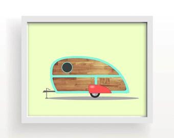 "vintage camper, camper trailer, teardrop, drawing, yellow, wood, large wall art, wood grain, red, home decor, wall decor- ""Vintage Teardrop"""