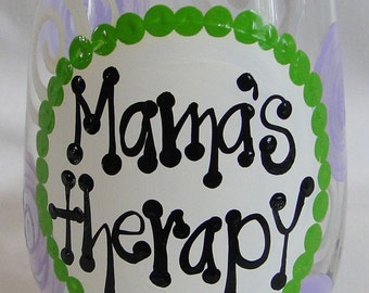 Mama's Therapy Handpainted Stemless Wine Glass