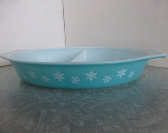 Turquoise Blue Snowflake Pyrex Divided Dish