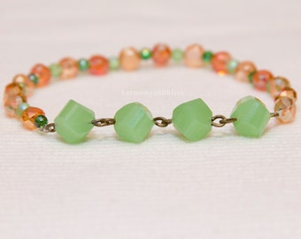 Shabby Chic green and orange glass faceted bead stretch stackable layered layer bracelet
